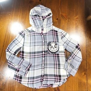 Justice Hooded Plaid Button Front Shirt